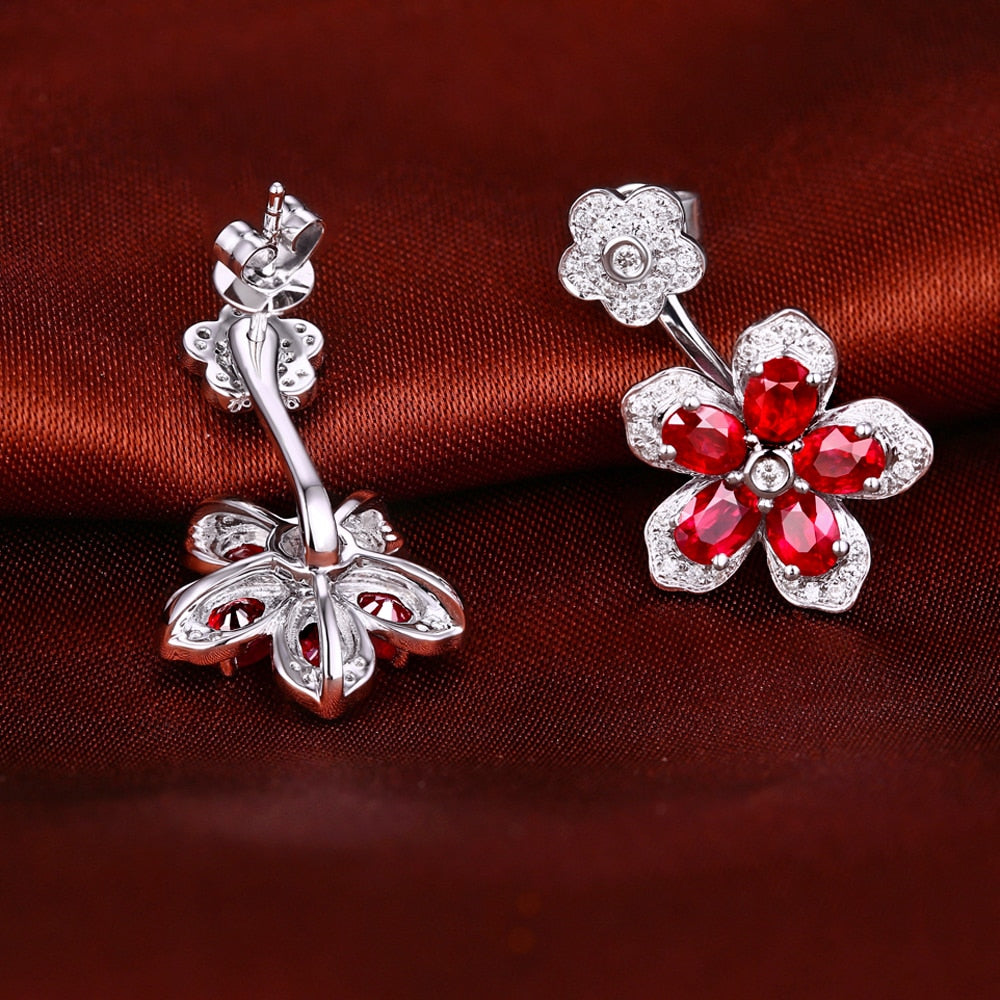 18K Solid White Gold Earring with 2.48ct Authentic Healing Ruby and 0.34ct  Genuine Diamonds