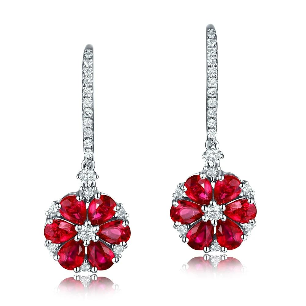 14K Solid White Gold Earring with Natural Healing 2.18ct Ruby and Genuine Diamonds