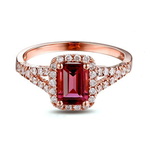 10K Solid Rose Gold Ring with Authentic Healing 0.93ct Tourmaline & Natural Diamonds