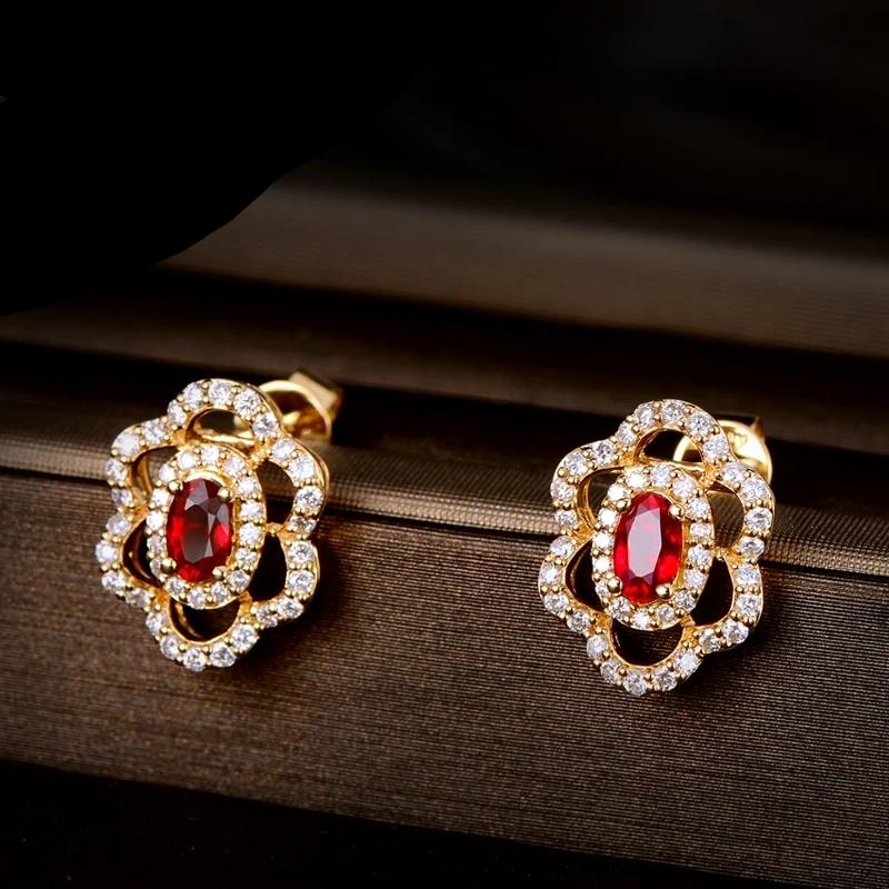 0.59ct Genuine Healing Ruby with 0.44ct Authentic Diamonds on 14K Solid Yellow Gold Earrings