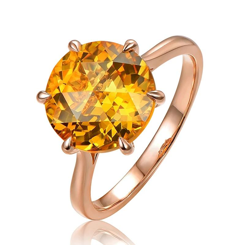 Natural Healing 6.75ct Citrine on 14K Solid Rose Gold Ring