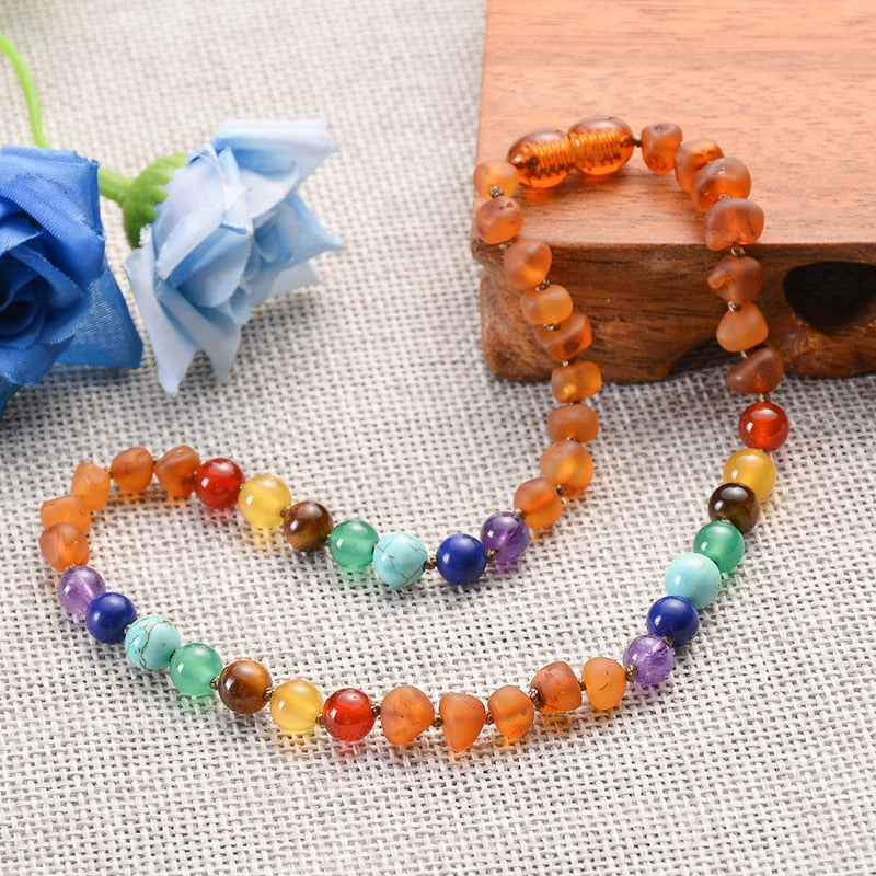 Authentic Healing Baltic Amber Teething Necklace with 7 Chakra Genuine Stones