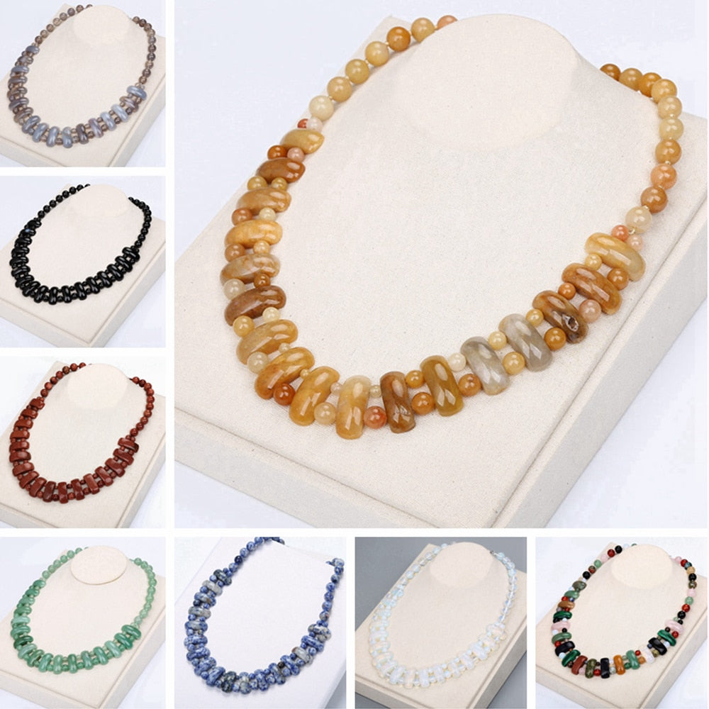 14 Varieties Natural Healing Stones Necklace