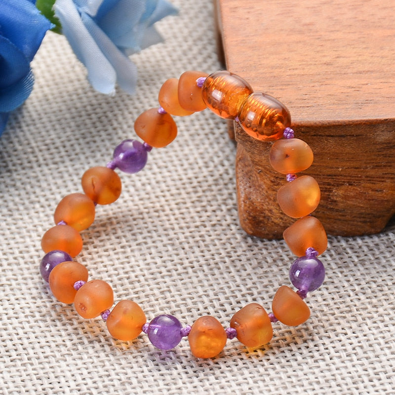Real Healing Amber Teething Bracelet with Genuine Amethyst / Turquoise / Quartz Stones