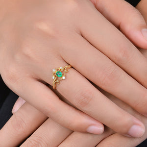Solid 14k Yellow Gold Ring with Natural Healing Emerald and Genuine Diamonds