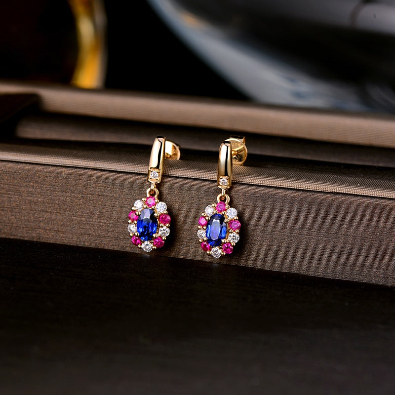0.69ct Genuine Healing Sapphire with Round Diamonds and Ruby on 14k Solid Yellow Gold Earrings