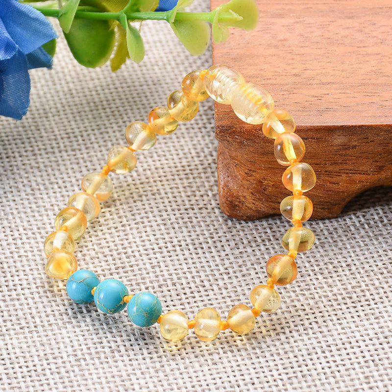 Authentic Healing Baltic Amber Baby Bracelet with Genuine Turquoise Amethyst Quartz Stones
