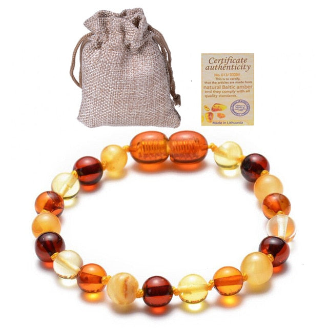 Natural Healing Baltic Amber Teething Bracelet for Baby Round Beads Shape 5 Colors