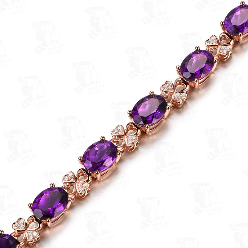 Genuine Healing Amethyst on Gold Plated Elegant Lucky Clover Bracelet 19cm