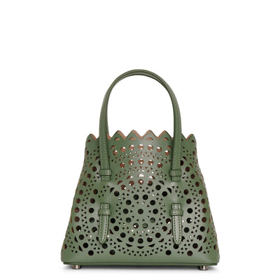 Mina 16 aloe green leather tote bag