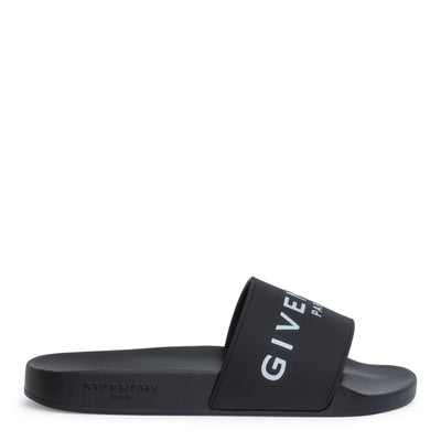 Black rubber slide sandals