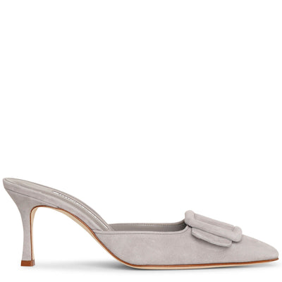 Maysale 70 grey suede mule pumps