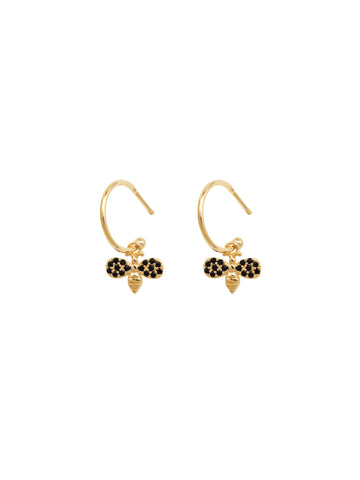 Gold Mini Crystal  Bee Hoop Earrings