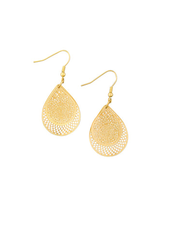 Gold Tear Drop Web Earrings