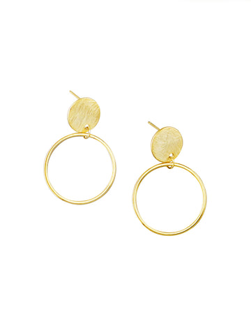 Gold Disc & Hoop Earrings