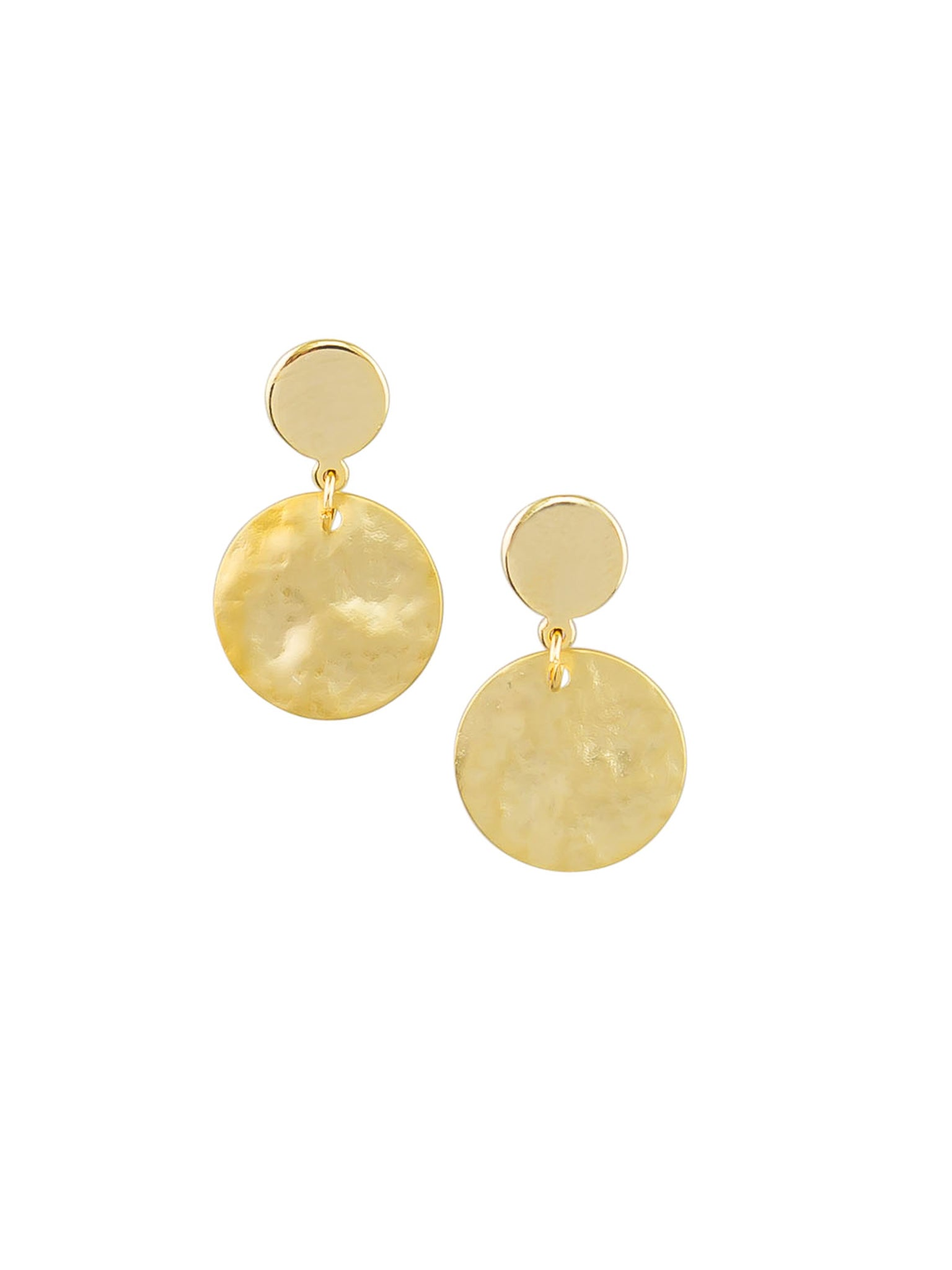 Gold Small Textured Disc Earrings