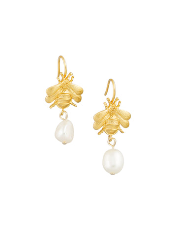 Gold Bee Pearl Drop Earrings