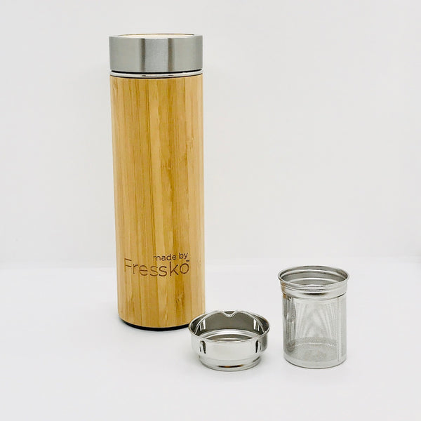 Fressko_Insulated Stylish Bamboo Infuser Bottle_450ml