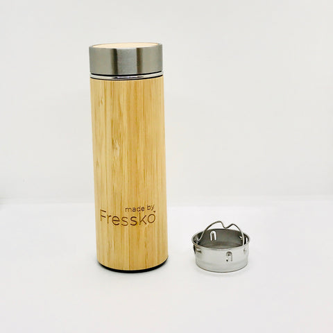 Fressko_Insulated Stylish Bamboo Infuser Bottle_300ml