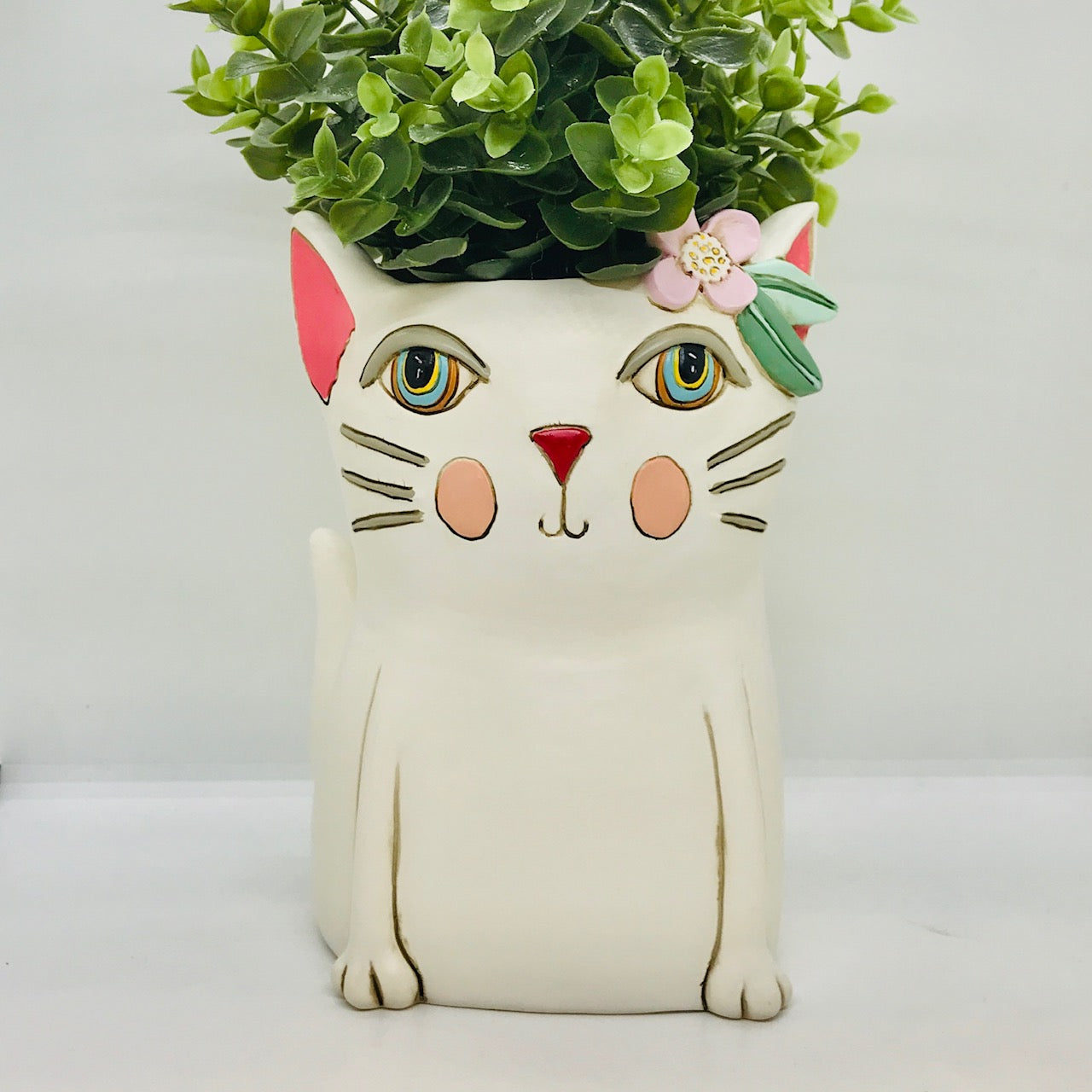 White Kitty Planter: Large