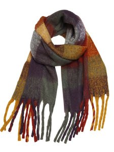 Autumn coloured check scarf