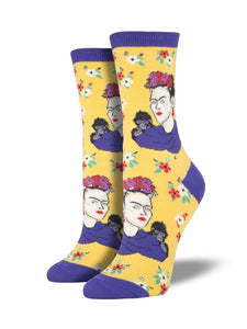 Frida Kahlo Yellow 'Portrait' Socks