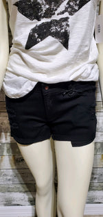 Load image into Gallery viewer, Black Distressed Denim Shorts