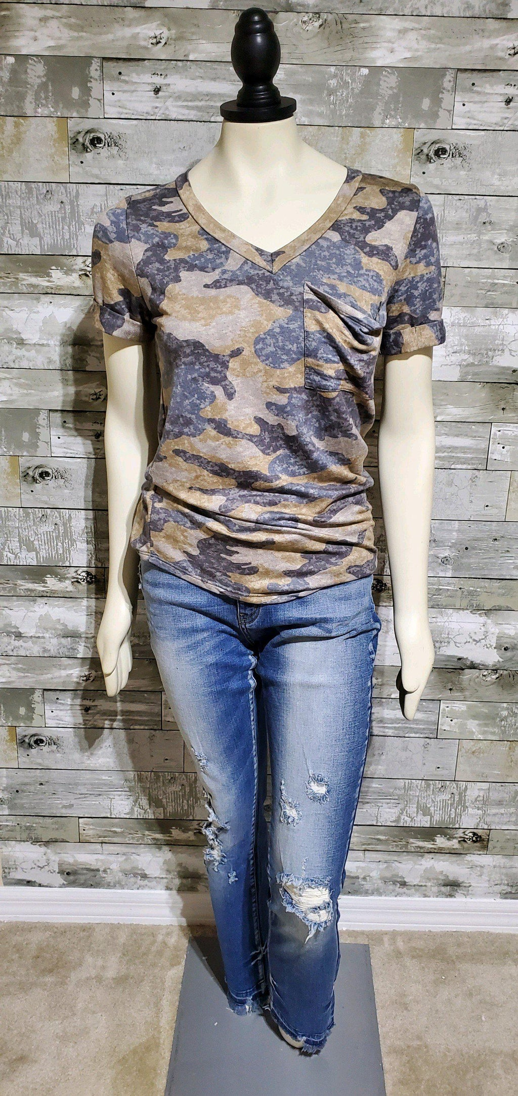 Camo Pocket V Neck-Top-Litchfield Lane Boutique-Litchfield Lane Boutique