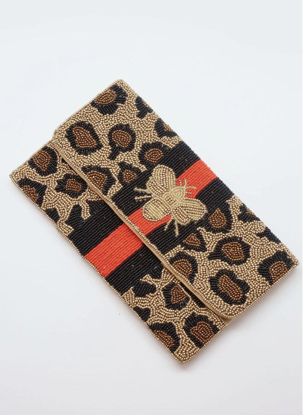 Caroline Hill Benson Beaded Leopard Print Bee Crossbody/Clutch Red-Handbags-Caroline Hill-Litchfield Lane Boutique