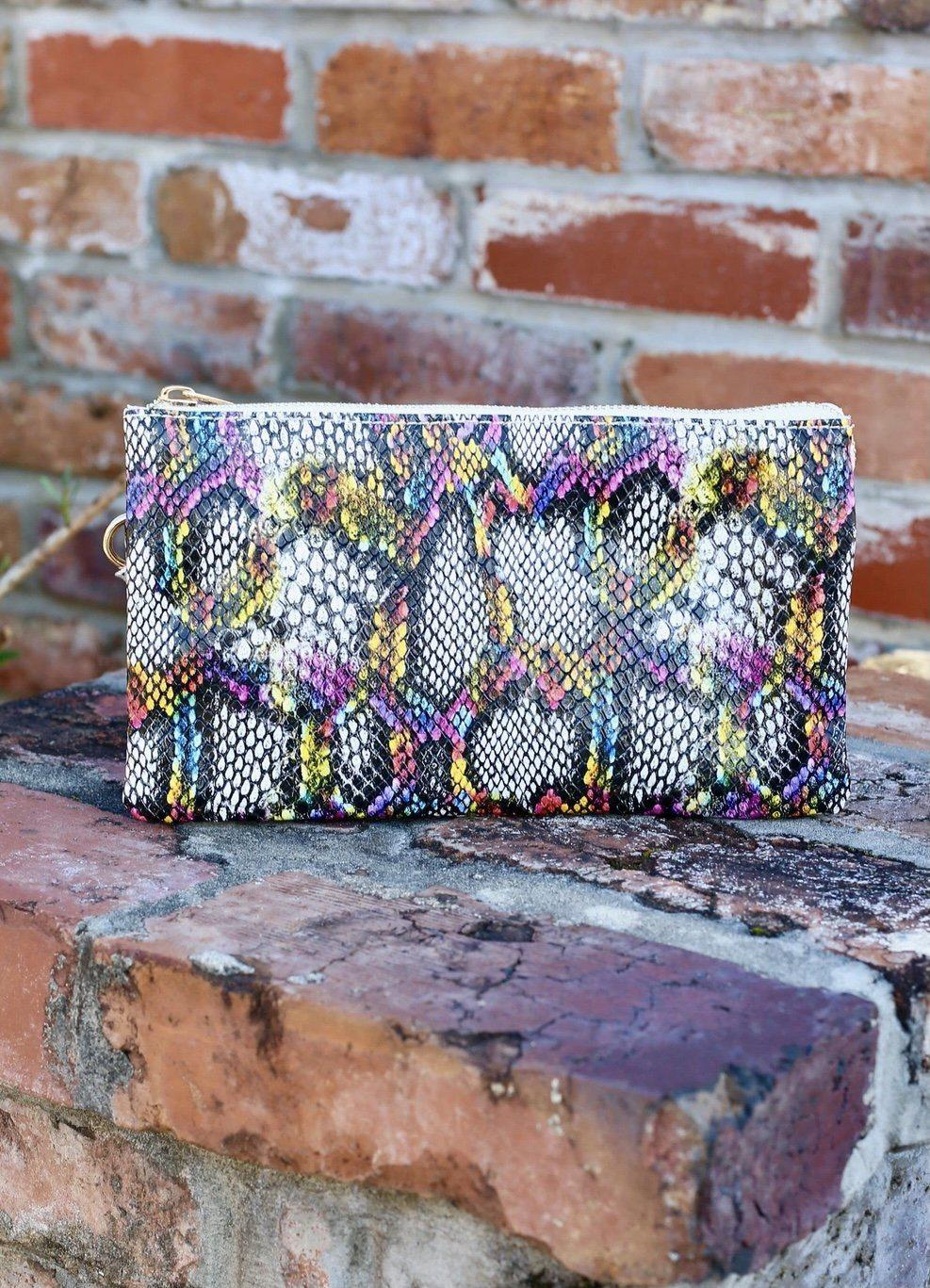 Caroline Hill Liz Custom Collection Crossbody Bag Snake Pink Multi-Handbags-Caroline Hill-Litchfield Lane Boutique