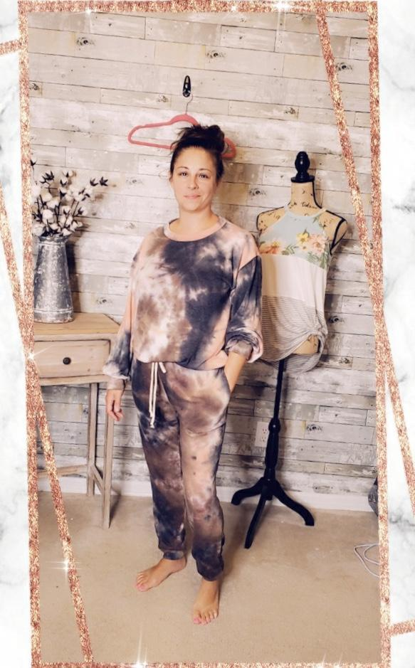 CORAL AND CHARCOAL TIE-DYE JOGGERS-Pants-First Love-Litchfield Lane Boutique
