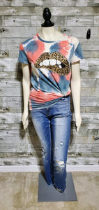 Coral Leopard Lips Tee-Top-Litchfield Lane Boutique-Litchfield Lane Boutique