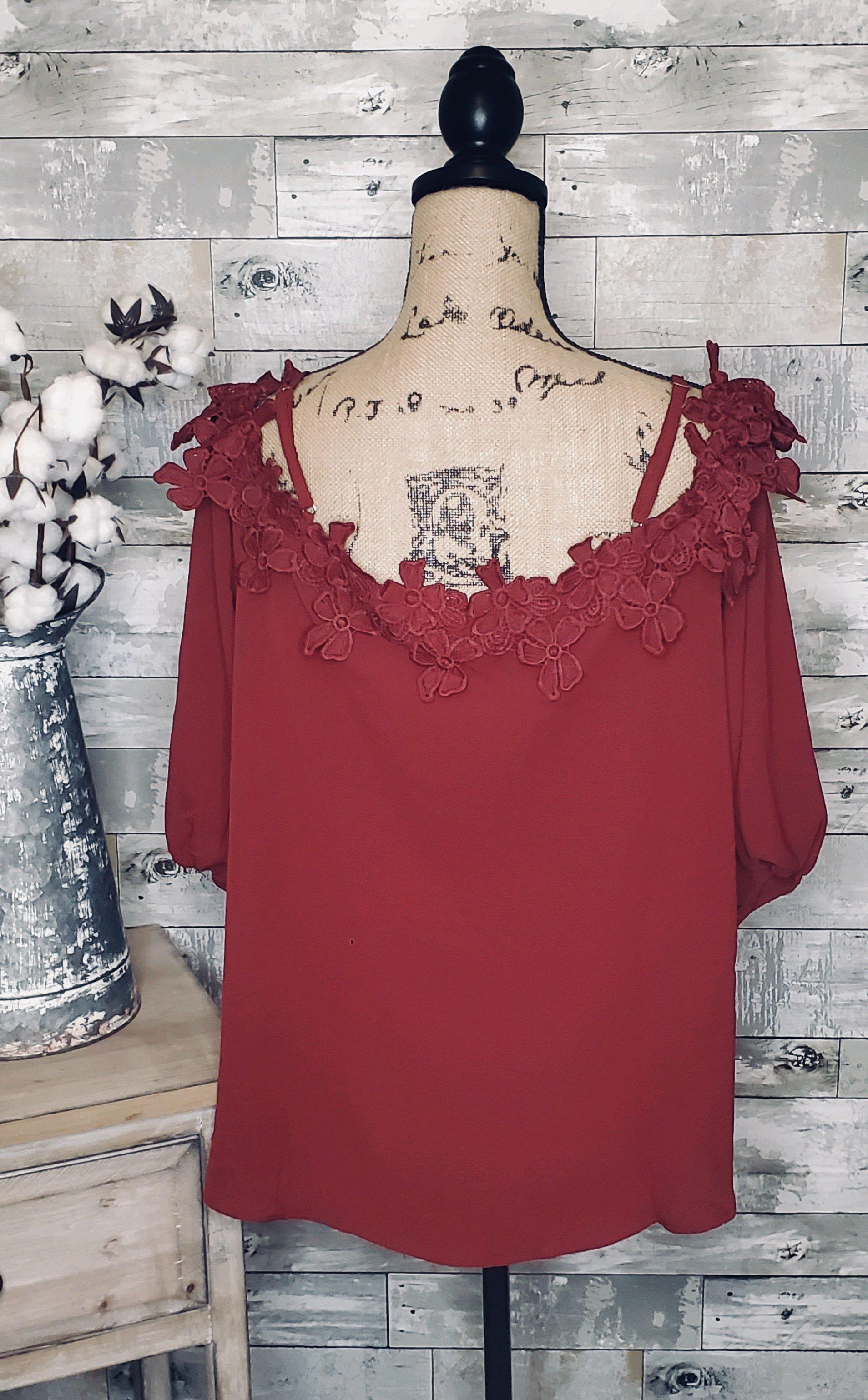 CURVY CROCHET TRIM COLD SHOULDER TOP-Curvy Top-Zenobia-Litchfield Lane Boutique
