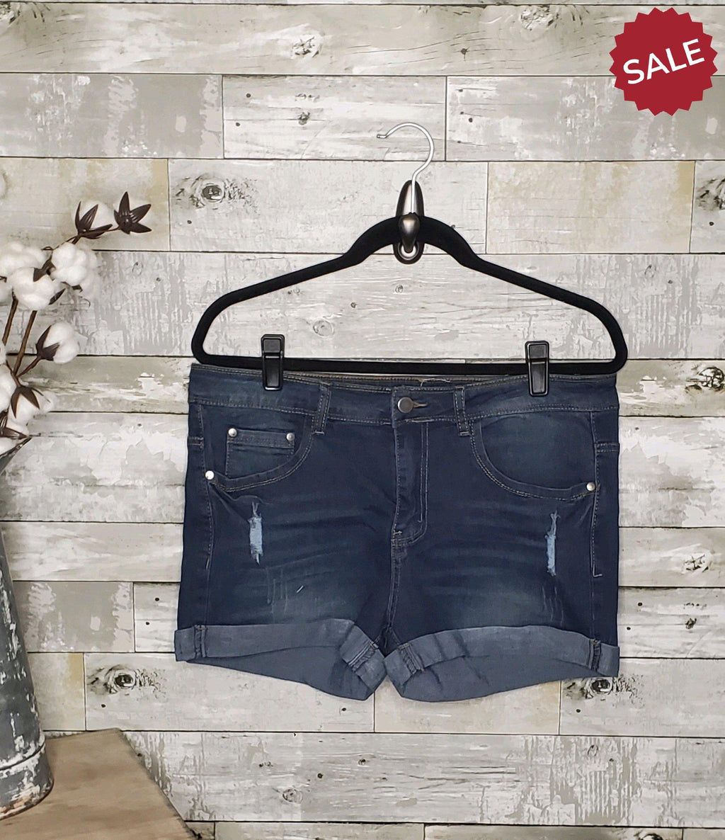 CURVY DISTRESSED CUFFED DENIM SHORTS-Plus Size Shorts-Adora by ColorSwatch-Litchfield Lane Boutique