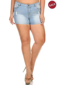 CURVY DISTRESSED DENIM SHORTS-Plus Size Shorts-Some-Litchfield Lane Boutique