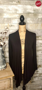 Load image into Gallery viewer, DRAPED CARDIGAN IN BLACK-cardigan-Moa-Litchfield Lane Boutique