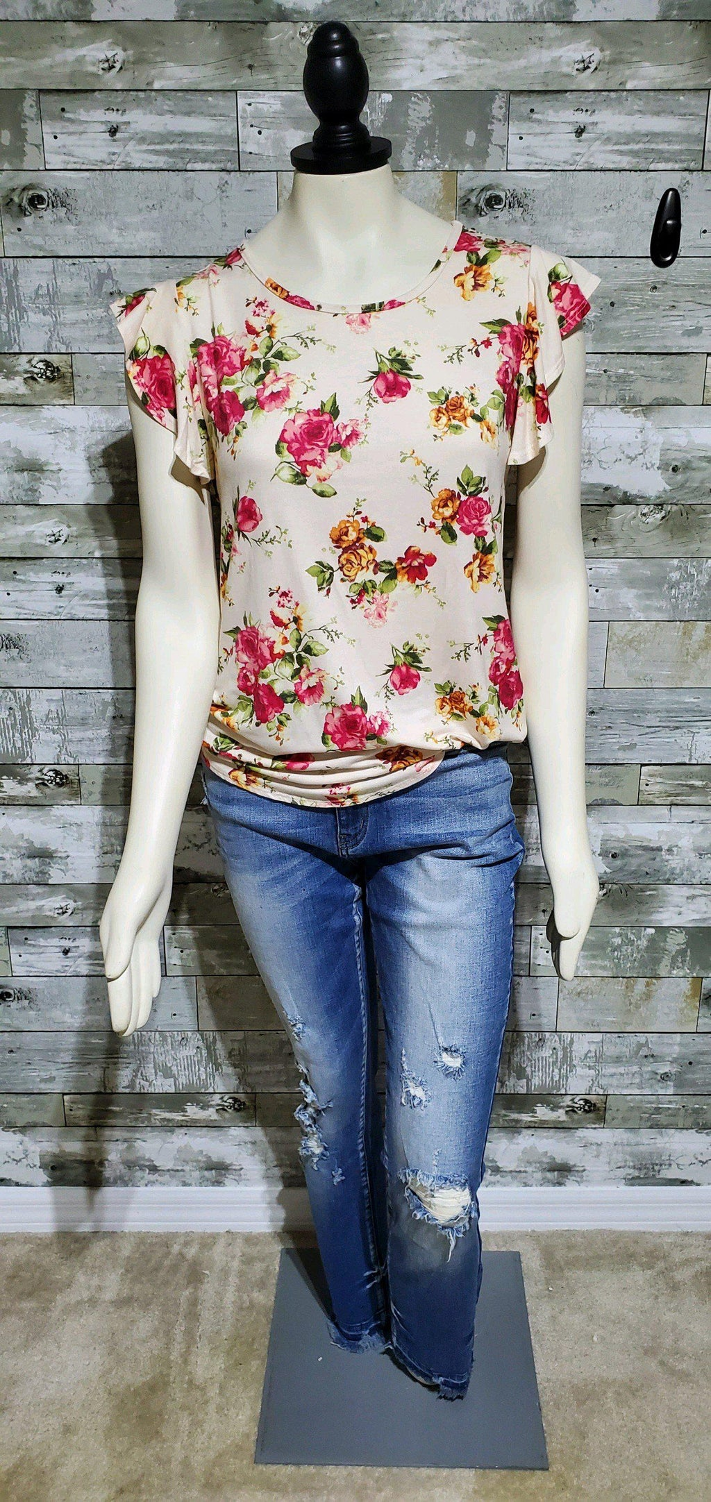 Floral Spring Ruffle Sleeve Top-Top-Litchfield Lane Boutique-Litchfield Lane Boutique