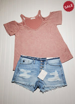 Load image into Gallery viewer, KATIE BUTTON FLY DISTRESSED MID RISE-Shorts-KanCan-Litchfield Lane Boutique