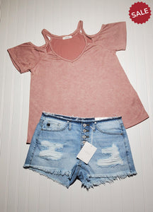 KATIE BUTTON FLY DISTRESSED MID RISE-Shorts-KanCan-Litchfield Lane Boutique
