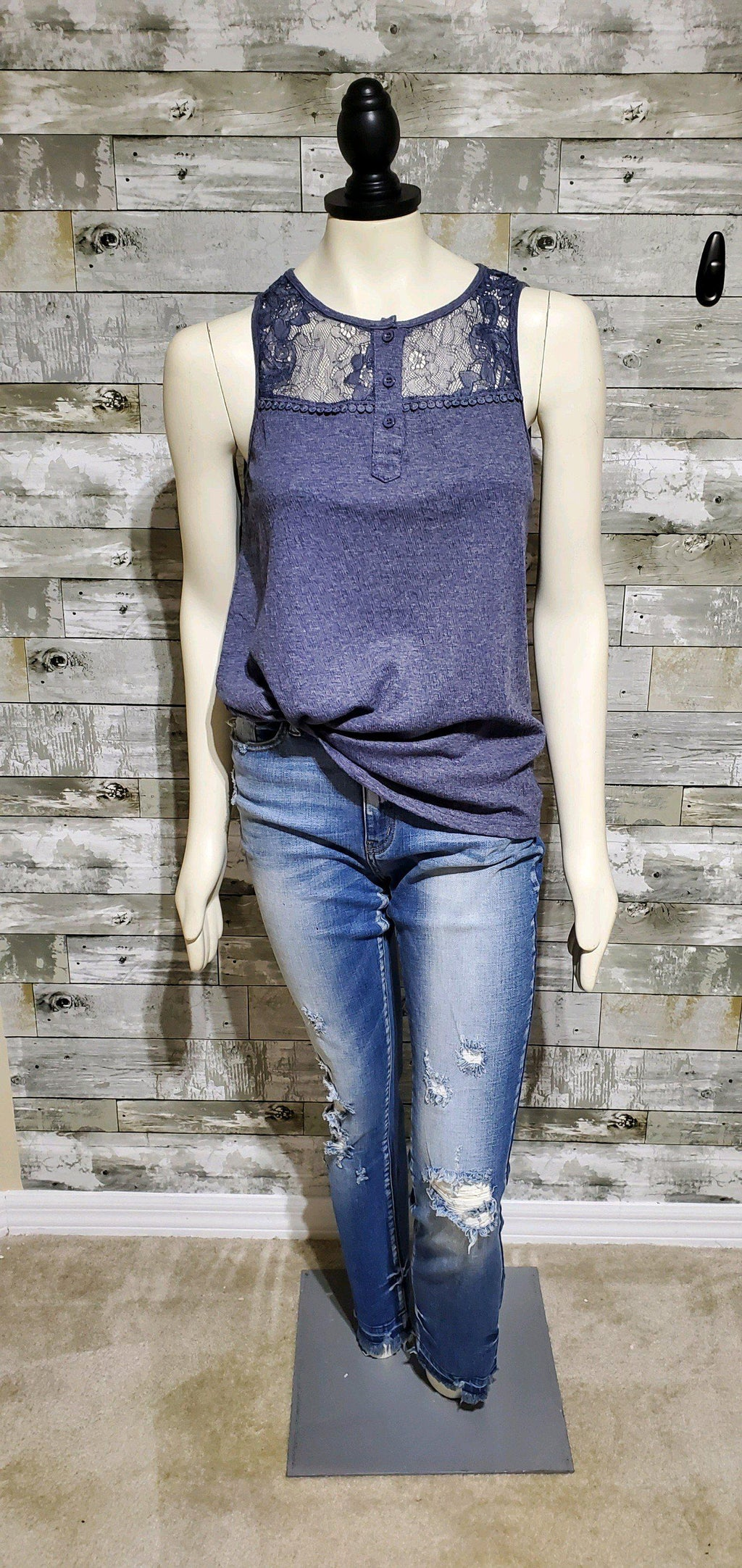 Navy Lace York Tank-Tanks-Litchfield Lane Boutique-Litchfield Lane Boutique
