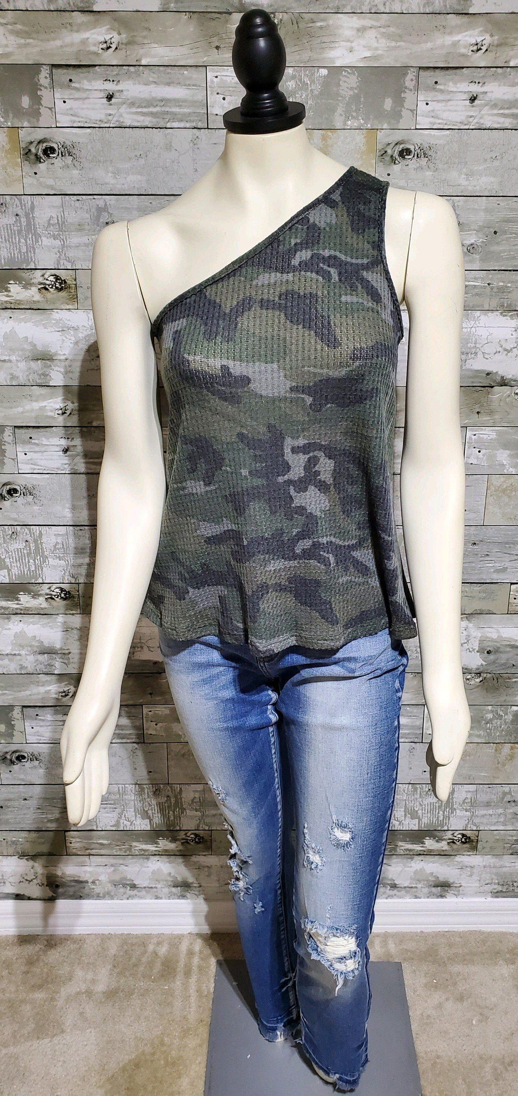 One Shoulder Camo Tank-Tank-Litchfield Lane Boutique-Litchfield Lane Boutique