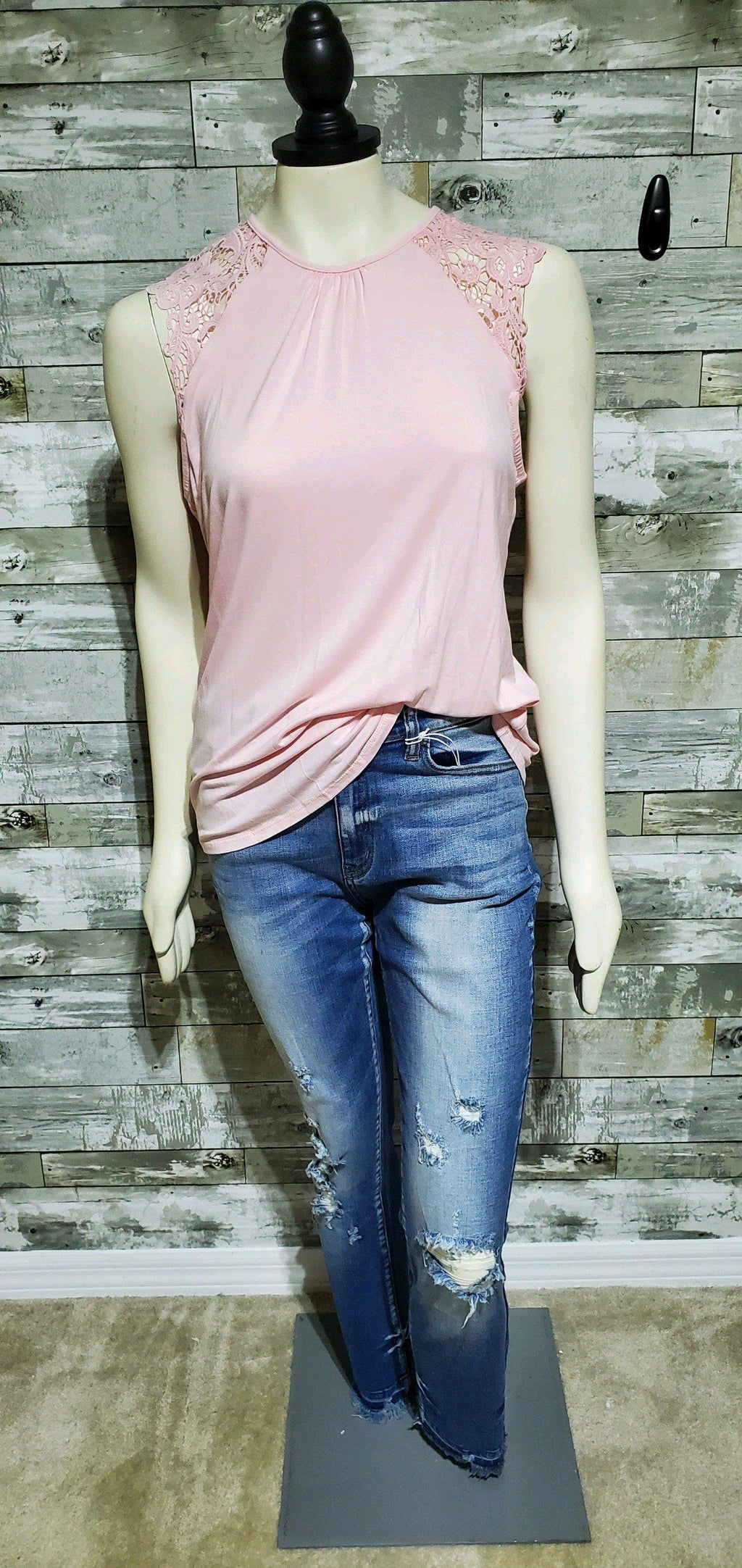 Pink Tank with Lace Shoulders-Tank-Litchfield Lane Boutique-Litchfield Lane Boutique