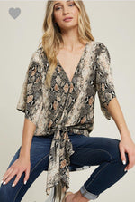 Load image into Gallery viewer, SNAKE PRINT V-NECK TOP-Tops-ee:some-Litchfield Lane Boutique