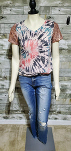 Taupe Tie Dye V Neck With Sequin Sleeve