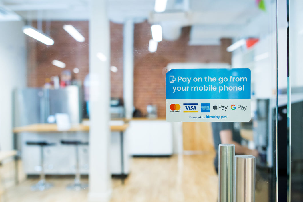 Pay on the go with Kimoby Pay sticker
