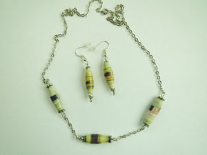 Necklace & Earring set hand made paper beads