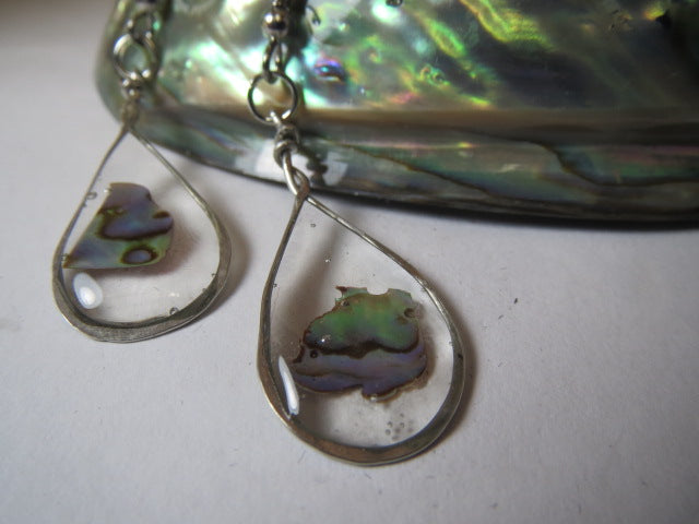Earrings epoxy resin and paua shell