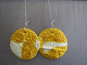 Earrings Handmade Polymer clay drop in yellow