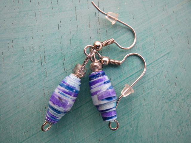 Earrings handmade paper beads