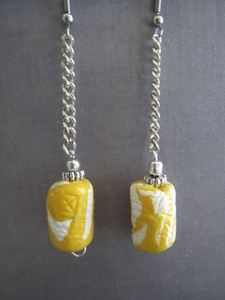 Earrings handmade Lemon yellow